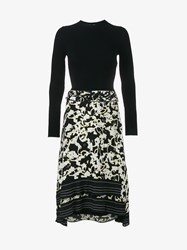 Proenza Schouler Floral Print Silk And Knitted Dress Black Multi Coloured Yellow White