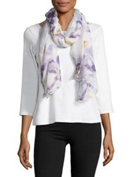Lord And Taylor Sheer Petals Printed Scarf Purple White