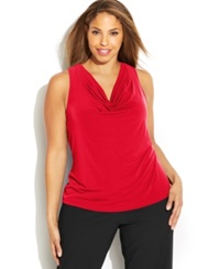 Calvin Klein Plus Size Knit Cowl Neck Top Red