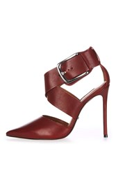 Topshop Gallon Buckle Court Shoes Red