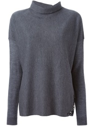 Schumacher Rhinestone Embellished Sweater Grey