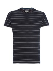 Linea Bosier Engineered Stripe Crew Neck T Shirt Navy