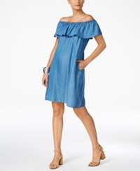 Style And Co Petite Off The Shoulder Denim Dress Created For Macy's Sun Wash