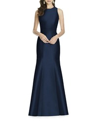 Alfred Sung Sleeveless Mermaid Gown W Cutout Back And Bow Accent Midnight