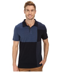 Calvin Klein Jeans Stripe Polo Color Blocked Navy Armada Men's Short Sleeve Pullover