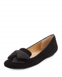 Neiman Marcus Bow Smoking Suede Loafer Black