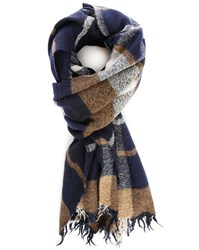 Closed Navy Checked Scarf
