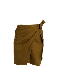 Etoile Isabel Marant Olga Cotton Gabardine Wrap Mini Skirt Khaki