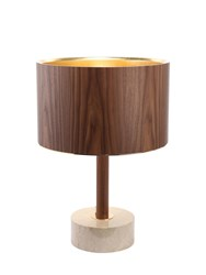 Midsummer Milano Low Marble And Walnut Wood Table Lamp Brown