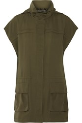 Alice Olivia Tate Cady Hooded Vest Green