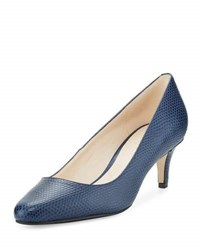 Cole Haan Lena Ii Lizard Embossed Mid Heel Pump Blue