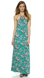 Tbags Los Angeles Medallion Detail Maxi Dress Aqua Print