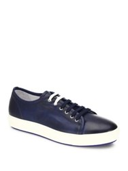 Saks Fifth Avenue Dual Lace Up Leather Sneakers Red Navy