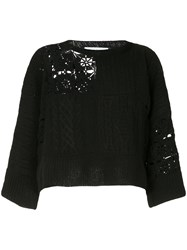 Ryan Roche Cropped Patchwork Sweater Black