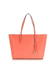 Michael Kors Jet Set Travel Pink Grapefruit Saffiano Leather Top Zip Tote