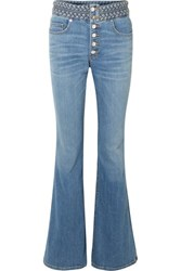 Veronica Beard Beverly Braid Detailed High Rise Flared Jeans Blue