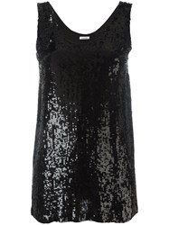 P.A.R.O.S.H. Sequin Tank Top Black