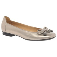Gabor Natalia Bow Ballet Pumps Gold