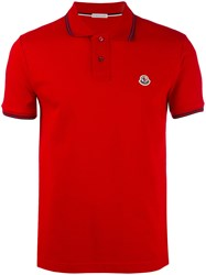 Moncler Striped Trim Polo Shirt Red