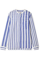 Lemlem Abel Mix Striped Cotton Blend Shirt Blue