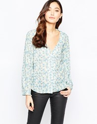 Love Button Up Blouse In Small Floral Print Blue Floral