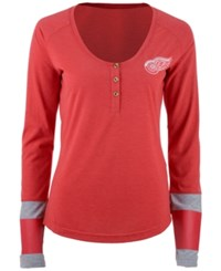 Reebok Women's Detroit Red Wings Stripe Henley Long Sleeve T Shirt