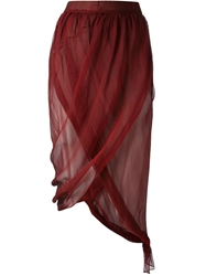 Romeo Gigli Vintage Draped Wrap Skirt Red