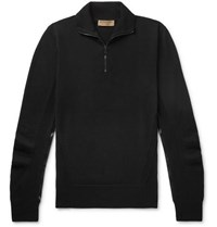 Burberry Slim Fit Check Trimmed Merino Wool Half Zip Sweater Black
