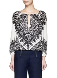 Alice Olivia 'Naya' Tribal Print Ruched Peasant Blouse Black Multi Colour