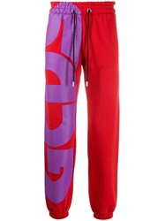 Gcds Logo Printed Track Pants Red