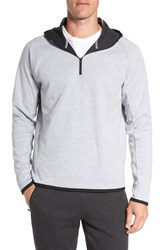 Zella Men's Quarter Zip Tech Knit Hoodie Navy Malachite