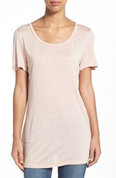 Women's Halogen Side Slit Long Scoop Neck Tee Pink Peach