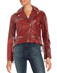 True Religion Lace Up Accented Leather Moto Jacket Mustang
