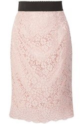 Dolce And Gabbana Corded Cotton Blend Lace Midi Skirt Pastel Pink