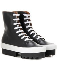 Givenchy Platform Leather Ankle Boots Black