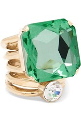 Dries Van Noten Gold Tone Crystal Ring Green