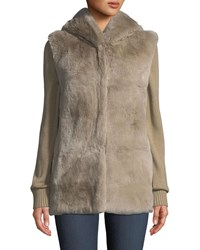 Belle Fare Knit And Fur Hooded Jacket Cream