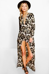 Boohoo Long Sleeve Deep Plunge Wrap Floral Playsuit Black