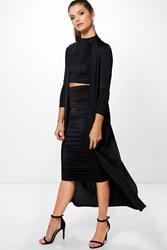 Boohoo 3 Peice Duster Skirt And Crop Co Ord Set Black