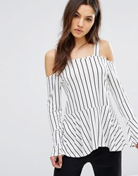 Daisy Street Striped Cold Shoulder Top With Flare Sleeve Black White Multi