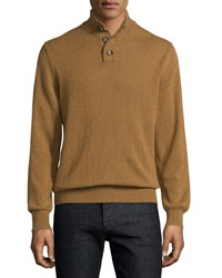 Luciano Barbera Cashmere Striped Trim Sweater Mustard