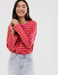 Monki Oversized Wide Sleeve Crew Neck Top In Pink And Mustard Stripe