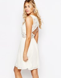 Elise Ryan 2 In 1 Lace Top Skater Dress With Scallop Back Cream