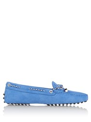 Tod's Gommini Lace Up Suede Loafers Blue