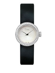 Christian Dior La Mini D De Dior Diamond Stainless Steel And Satin Strap Watch Black