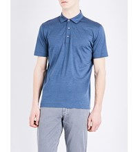 Canali Cotton Jersey Polo Shirt Steel Marl