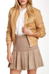 Halston Sheepskin Leather Jacket Brown