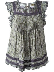 Fay Paisley Print Ruched Panel Sleeveless Blouse Multicolour