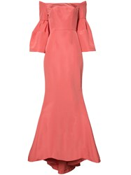 Carolina Herrera Faille Evening Gown Pink Purple