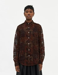 Hope Air Clean Lace Shirt In Golden Brown Size 42